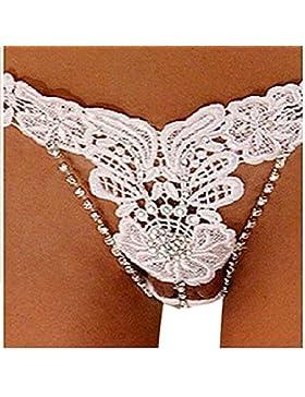 Perizoma donna con strass anteriore tanga sex lingerie bianco alta qualità bondage