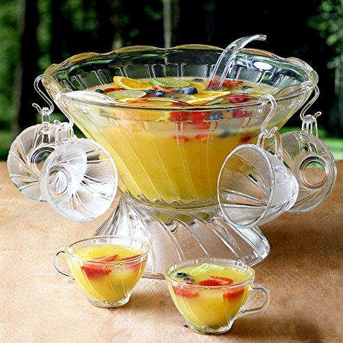 Glas Bowle-Set–27Stück Vintage Glas Bowle mit 12Bowletassen