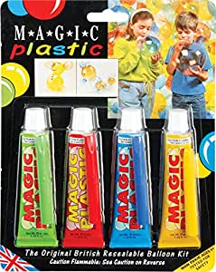 Magic Plastic Green, Red, Blue & Yellow - Resealable Balloon Kit Tube 30g (Pack of 4)