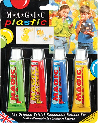 Magic Plastic Verde, Rojo, Azul y Amarillo – Kit de Globo resellable 30 g (Paquete de 4)
