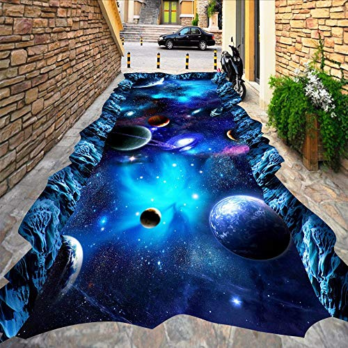 Gwgdjk Benutzerdefinierte Bodentapete Universe Star 3D Stereo Pvc Boden Aufkleber Malerei Die Mall Tragen Rutschfeste Wasserdichte 3D Wandbild Tapete-200X140Cm