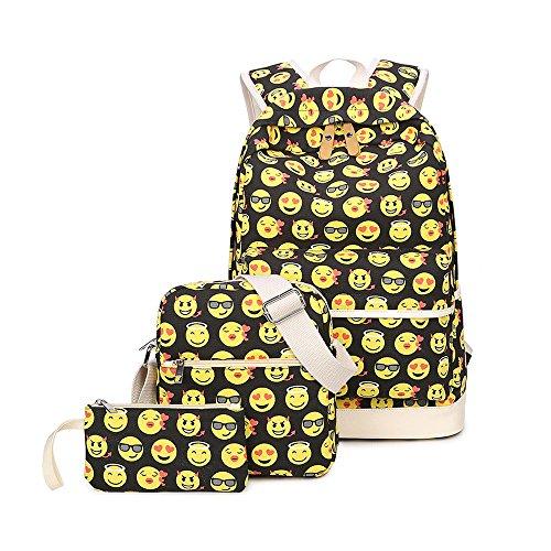 Imagen de susutop kids cute emoji  escolares los niños lienzo gran capacidad bolsa de hombro +mini bolso + bolso crossbody amarillo