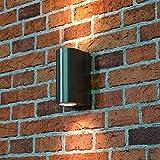 """Vielseitige Wandaußenleuchte """"Aalborg"""" halbrund in silber / 2x GU10 35W / IP44 Schutz/kompakte Hauswandleuchte Wandlampe für Außen"""