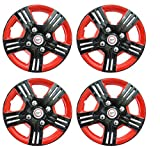 #4: Hotwheelz Black Red 12 inch Wheel Cover for Maruti Alto 800 (Set of 4)