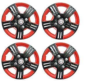 Hotwheelz Black Red 13 inch Wheel Cover for Tata ML (Set of 4)