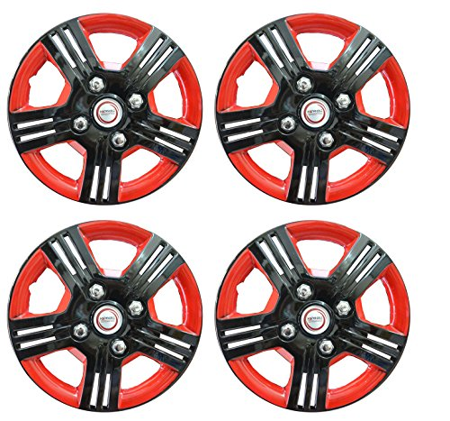 32% OFF on Hotwheelz Black Red 14 inch Wheel Cover for Mahindra KUV 100 (Set of 4) on Amazon | PaisaWapas.com
