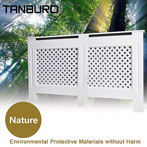 Tanburo copritermosifone, coperchio riscaldante, coperchio radiatore, verniciata bianca opaca,152 x 19 x 81.5 cm