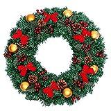 Kransen 24 Inch De elegante Kroon van Kerstmis for Voordeur mooi en vol Winter Krans met Shatterproof Ball Ornaments, lint, Kunstmatige Simulatie Bloem slingers (Color : B, Size : 50cm)