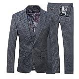 Da uomo Slim Fit Blazer Smoking e pantaloni da tuta Casual Stripe Tre tuta Grey XL