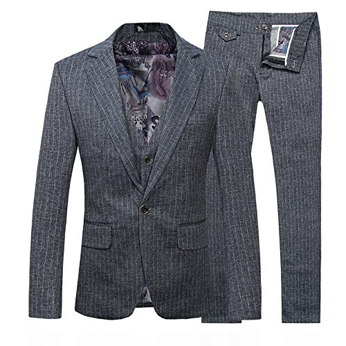 Cloud Style uomo Slim Fit giacca e pantaloni tuta Tuxedo cena casual Stripe tre pezzi tuta Grey 2XL
