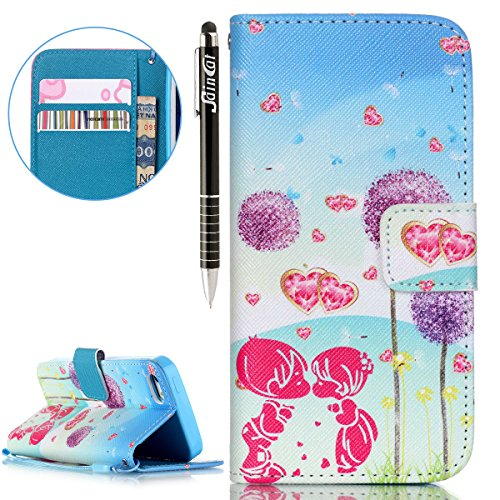 iPhone SE Hülle,iPhone 5S Hülle,iPhone 5 Hülle, iPhone SE / 5S / 5 Hülle Ledertasche Brieftasche handyhülle im BookStyle, SainCat PU Leder Wallet Case Folio Schutzhülle Gemalt Muster Hülle Bumper Hand Couple Dandelion