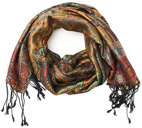 ufash Pashmina Seidenschal Tuch aus Punjab, Indien, Paisley Muster, 160 x 35 cm - 100{4048bd7834e61a66ee50fdf73449d6ef648d635dc1fb24565ff4851944eb58cb} Seide, Violett 2
