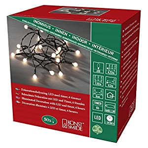 Konstsmide 1492-107 LED Berry Globe Light Chain with Round Diodes/For Indoor Use (IP20) / Battery Operated: 3xAA 1.5V (excl.) / 6h Timer / 20 Warm White Diodes/Black Cable