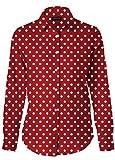 Dioufond® Fashion Damen Punkte Design Bluse Tupfen-Druck Langarm Lässig Bluse mit Knöpfe, (L, Rot)