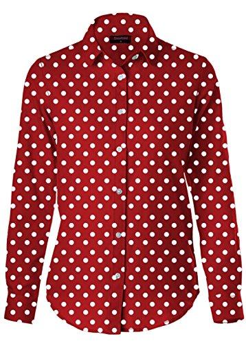 Dioufond Femmes Chemise à Pois en Coton avec Bouton Manches Longues Chemisier- Travail/Partie/Eté(EU 40,RougePois)