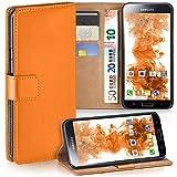 moex Samsung Galaxy S5 Mini | Hülle Orange mit Karten-Fach 360° Book Klapp-Hülle Handytasche Kunst-Leder Handyhülle für Samsung Galaxy S5 Mini Case Flip Cover Schutzhülle Tasche