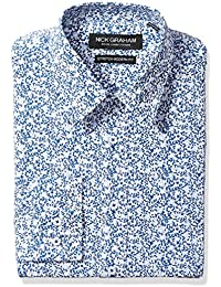 Nick Graham Men's Modern Fitted Vine Floral Print Stretch Dress Shirt