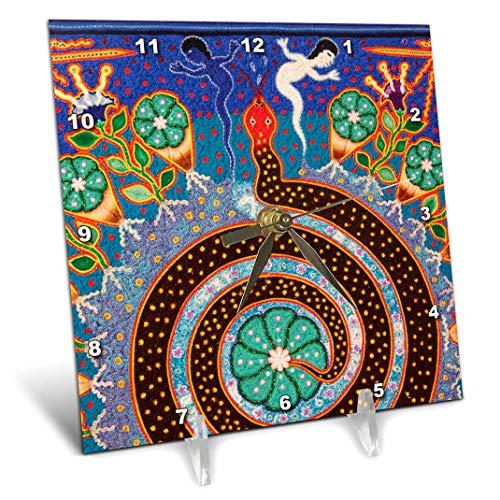 3dRose DC 92754_ 1Folk Art, Huichol-Kunst, Santa Fe, New Mexico US32jmr1118Julien McRoberts Schreibtisch Uhr, 6von 15,2cm