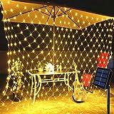 Lichternetz Solar 200 LED Warmweiß Pavillon Terrasse Beleuchtung mit Blinkfunktion 3x2 m 8 Modi grünes Kabel Gartenbeleuchtung...