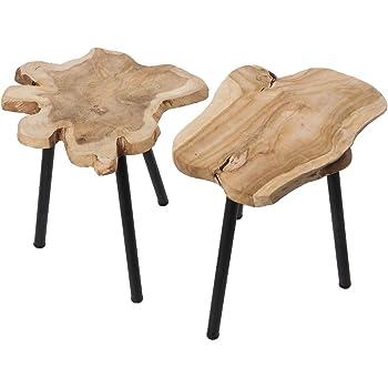 Teakholz beistelltisch  Teakholz Beistelltisch J010 Holztisch Wurzelholz Dreibeintisch aus ...