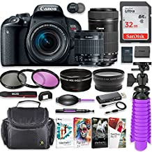 Canon EOS Rebel T7i 24.2MP DSLR Camera With Canon 18-55mm STM Lens & Canon EF-S 55-250mm STM Lens + 32GB SD Memory + HD Filters + Spider Tripod + Professional Bundle With Corel Software Kit