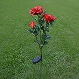 Solarbetriebene LED-Kunstpflanzen-Lichter, Design: 3-köpfige Rose, Outdoor-Deko-Lichter rot