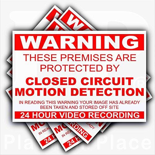 Preisvergleich Produktbild 6x external-premises geschützt durch Bewegungserkennung geschlossen Circuit CCTV stickers-red auf white-130mm X 87mm-worded-video Aufnahme Kamera Sicherheit Warnung signs-self selbstklebendem Vinyl