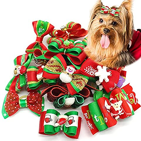 Berry 20pcs Dog Grooming Accessories Hair Bow for Christmas Party