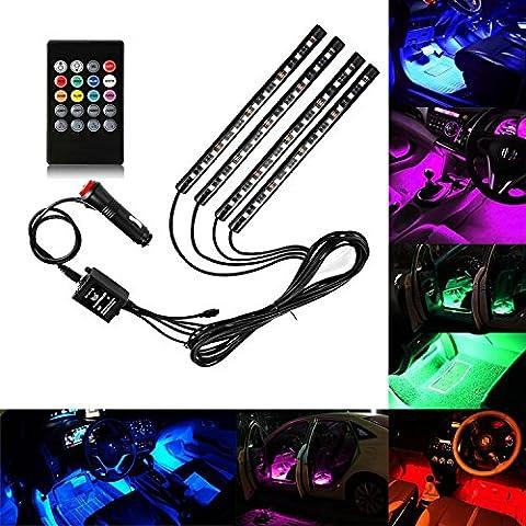 Guaiboshi LED Auto Innenbeleuchtung 4 Stück 48l Guaiboshi LED Auto Glow Unterboden System Neon Lichter Kit Wasserdichter Lichtstreifen mit Fernbedienung Lighting Lighting Atmosphere Strip Light Bulb Für Feiertage, Ausstellungen, Autos und