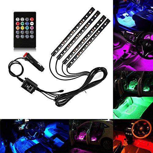 Guaiboshi-LED-Auto-Innenbeleuchtung-4-Stck-48leds-RGB-Wasserdicht-Stimmungsbeleuchtung-led-Streifen-Licht-Mit-Musik-Fernbedienung-und-KFZ-Ladegert-DC-12V-Energieklasse-A