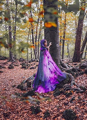 Lila Nebel Galaxie Mantel Hexe Konstellation Sternbilder Umhang Hexenschwarzes Kap des mittelalterlichen Halloween Kostüms mit (Sterne En Kostüm Halloween)