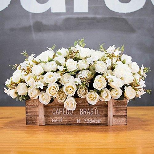 Jnseaol fiori artificiali plastica di seta pentola di legno per la decorazione del partito di giardino domestico i matrimoni, per regalo di festa della mamma rosa bianca