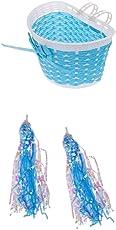 Non-brand Girls Bike Front Basket Shopping Holder Case + Bike Scooter Streamers Blue