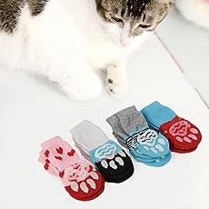 Gugutogo Cute Pattern Pet Socks Soft Pure Cotton Cani Cats Socks Indoor Floor Socks (Colore: rosso chiaro) (Dimensioni: S)