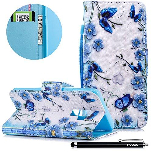 HUDDU Schmetterling Muster Blau Schutzhülle für Samsung Galaxy S9 Hülle Tasche Leder Flip Wallet Case Cover Handyhülle Kartenfach Magnetic Stand Wrist Strap Notebook Lederhülle Klapphülle Hardcase
