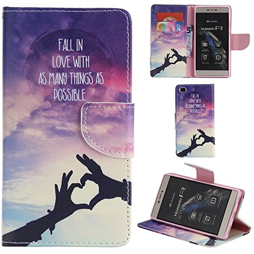 Ooboom® Huawei P8 Lite Coque PU Cuir Flip Housse Étui Cover Case Wallet Portefeuille Fonction Support avec Porte-cartes pour Huawei P8 Lite - Don't Touch My iPhone Main Ombre Amour
