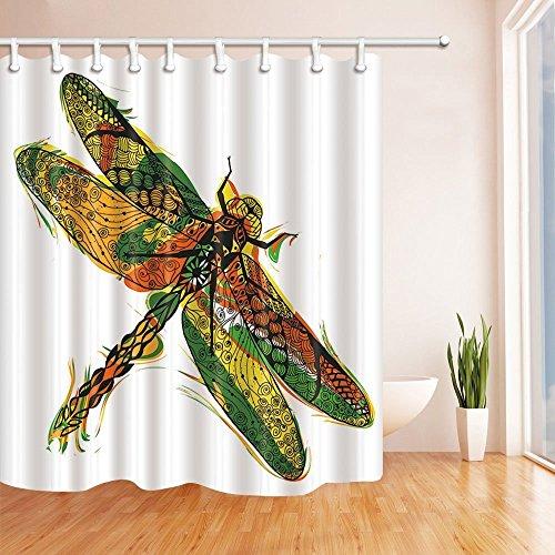 Duschvorhänge Mit Libellen (gohebe Umweltfreundlich Colorful Watercolor Duschvorhang Libelle 180,3x 180,3cm Polyester-Schimmelresistent-Badezimmer Fantastische Dekorationen Bad Vorhänge Haken im Lieferumfang enthalten)