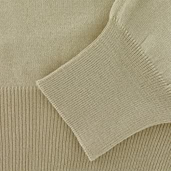 """Men's Fine Wool Polo Neck Sweater - Beige (Small (38"""" chest))"""