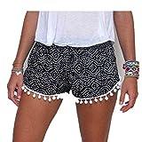 Femme Pantalon Short Avec Ourlets à Pompons OverDose High Waist Casual Shorts (40, Noir)