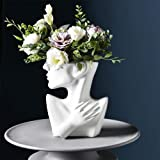 Flower Pot, Head Vase Face Planter Resin Small Plant Pot, Indoor Succulent Planter, Artwork for Home Office Decor Gift Idea