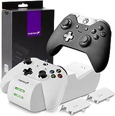 Fosmon Kabelloses Ladegerät für Xbox One/One S/One X/Elite Konsole Controller, Dual Charger Docking Station/Ladestation Ständer mit 2 x 1000mAh Wiederaufladbaren Akkus Batterien - Weiß