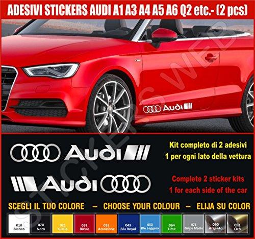 Kit adesivi stickers AUDI A1 A3 A4 A5 A6 Q2 ecc. -2 adesivi tuning auto- SCEGLI SUBITO COLORE- car kit n.2 Cod.0502 (Argento cod. 090)