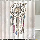 Duschvorhang, Anti-Schimmel Wasserdicht Badezimmer Vorhänge Modern Kunst Cartain für Haus Deko mit 12 Kunststoffringen zum Aufhängen (180 x 180 cm, Dreamcatcher)