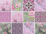 Dekorative Stickerfliesen mit tollen Motiven und Ornamenten für Wände und Fliesen | 12 teiliges Set | seidenmatt, Größe:15x15 cm