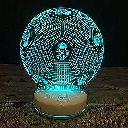 Wmshpeds Porcelana base blanca del Real Madrid colorido toque la noche 3D lámpara de la mesita de luz USB puede ser de control remoto o añadir baterías