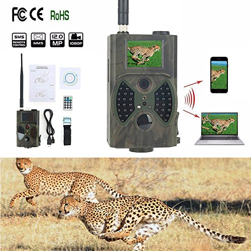 Tragbare Outdoor Jagd Wildlife Kameras - 1080P HD, Infrarot PIR Nachtsicht, GSM/GPRS/MMS/SMS Outdoor IP54, Wasserdichte Wildlife Trail Jagd Game Kamera, Spion Scouting- Security Kamera (HC300M) -