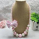 Mode Kleines Mädchen Bowtie Runde Beded Halskette Schmuck Sammlungen Charm Perlen Halskette Party Zubehör Pink