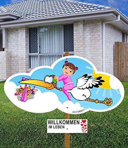 98 cm Baby-Klapperstorch GLÜCKWUNSCH MÄDCHEN ROSA für draußen Geburt Storch-Holz Alternative 12