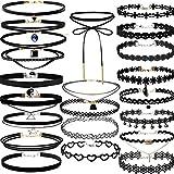 Bellelove❤22Pieces Halsband Halskette Set Stretch Samt Klassische Gothic Tattoo Spitze Choker (Schwarz)