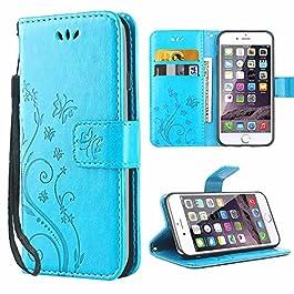 Cover iPhone 6, iDoer Retro Farfalla Fiore Modello Stampata Design Con Cinturino da Polso Custodia in pelle Protettiva…